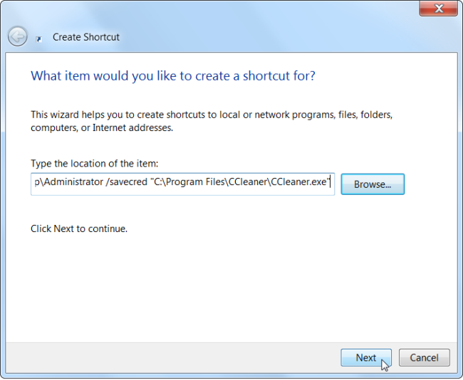 Create shortcut shortcut path