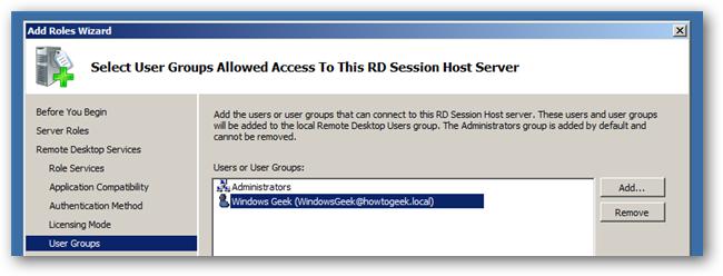 RD Server host