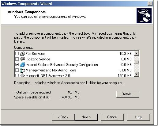 How to Enable and Disable IE Ehanced Security on Server 2003_2